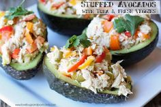 Stuffed Avocados with Tuna Recipe. Mini sweet peppers, pickles, lime, cilantro and more combined to make great stuffed avocados. Tuna Recipes, Seafood Recipes, Dinner Recipes, Healthy Recipes, Avocado Recipes, Delicious Recipes, Healthy Foods, Salad Recipes, Healthy Life