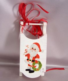 Vintage Christmas Sleigh White Wooden Hand Painted by annimae182, $14.99