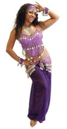 Harem Belly Dancer Costume - PURPLE / SILVER