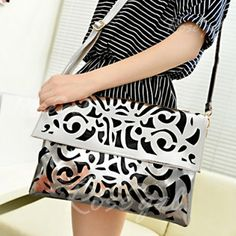 Casual Candy Color and Openwork Design Women's Crossbody Bag