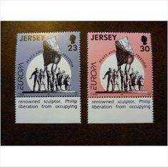 Jersey 1995 Europa Peace and Freedom set mint stamps GB SG698-9 Liberation scupture