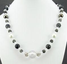 Grey & crystal bead necklace
