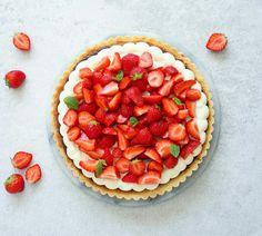 Jordbærtærte med mazarin og vaniljecreme