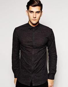 Jack & Jones Black Shirt With Nep