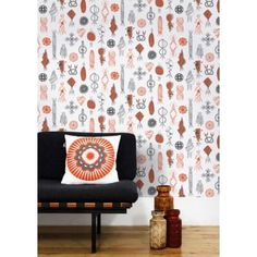 Mini Moderns Harvest Orange Equinox Wallpaper - eggcup & blanket UK
