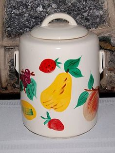 Mc Coy Pottery Hand Painted Colorful Fruit Cookie Jar