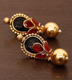 Red Studded Dangler Earrings #indianjewellery