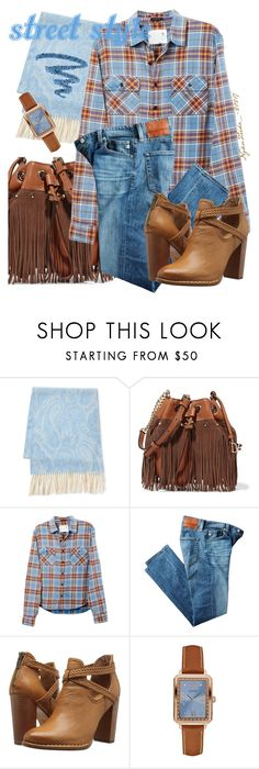 """""""Street Style"""" by pretty-zyha ❤ liked on Polyvore featuring Fraas, Diane Von Furstenberg, R13, AG Adriano Goldschmied, Frye, GUESS and Yves Saint Laurent"""