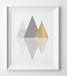 Silver geometric poster geometric print,modern decor affiche scandinave, silver printable wall art, silver print modern wall art print.  You