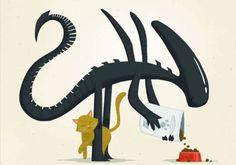 ゼノモーフがキュートに描かれる絵本『隣のエイリアン』