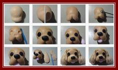 Cocker Spaniel Tutorial for Polymer Clay, Sugarpaste or Fondant Fondant Dog, Fondant Animals, Fondant Toppers, Cupcake Toppers, Dog Cake Topper, Cake Topper Tutorial, Fondant Tutorial, Polymer Clay Animals, Fimo Clay