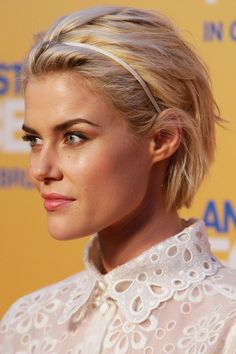 Style in-between hair with a hairband like Rachael Taylor: http://beautyeditor.ca/2013/08/01/want-to-grow-out-your-short-hair-except-its-thin-dry-and-damaged-bill-angsts-advice-for-sonia/