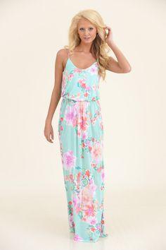 Aqua and Pink maxi dress