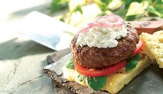 Boursin's artisan burger recipe is perfect for cookouts. Spread Boursin Pepper cheese on the bun and burger to bring a unique taste to a traditional burger. Boursin Recipes, Cheese Recipes, Appetizer Recipes, Appetizers, Burger Recipes, Beef Recipes, Cooking Recipes, Beef Dishes, Hamburger Recipes