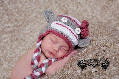 Pink Sock Monkey Hat