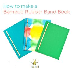 DIY Photography Albums How to Make a Rubber Band Book. This is an easy, cool-looking bookmaking project for kids ages 5 and up. These could be used for sketchbooks, gifts, or writing practice. The possibilities are endless. School Projects, Projects For Kids, Crafts For Kids, Handmade Books, Handmade Journals, Writing Practice, Book Binding, Rubber Bands, Altered Books