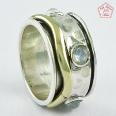 Sz 6 US,TWO TONE RAINBOW MOON STONE 925 STERLING SILVER SPINNER RING, R4612 #SilvexImagesIndiaPvtLtd #Spinner #AllOccasions