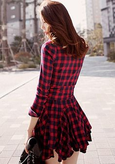 Dress Women Brand New Vintage Long Sleeve Red Plaid Check Lapel V-Neck Buttons Pleated Shirt Dresses Spring Casual Vestidos Long Shirt Dress, Pleated Shirt, Sammy Dress, Tartan Plaid, Spring Dresses, Skater Dress, Ball Gowns, Dresses With Sleeves, Dresses Dresses