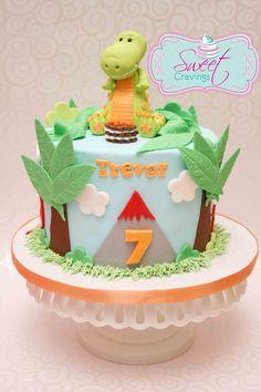 fondant dinosaur birthday cake (Dinosaur Cake)