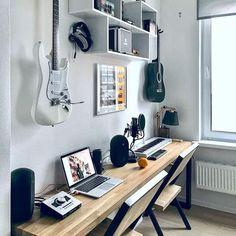 Music Studio Decor, Home Recording Studio Setup, Home Studio Setup, Home Studio Music, Home Office Setup, Home Office Design, Home Music Rooms, Music Bedroom, Room Ideas Bedroom