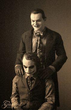 Passing the mantle.  Jack Nicholson's Joker & Heath Ledger's Joker