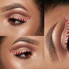 'Candy Cane Eye Liner' Insta : @nesadevi (Christmas Series #4) #stripes