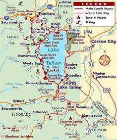 Road trip around Lake Tahoe Lake Tahoe Map, Lake Tahoe Nevada, Lake Tahoe Vacation, California Vacation, South Lake Tahoe, Vacation Trips, Vacation Travel, Lake Tahoe Summer, Truckee California