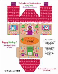 Navidad: cajas con forma de casa, para imprimir gratis. | Ideas y material gratis para fiestas y celebraciones Oh My Fiesta!