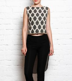 #Block #Printed #Top With #Draped #Back And Embroidered Front In Georgette And…