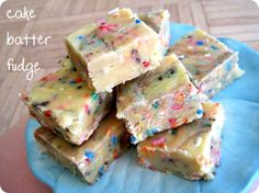 cake batter fudge.  OMG, this sounds AhMazing and I wish I had a box of cake mix. culinary-experiments