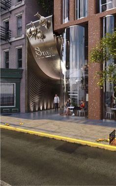 Idea 2924068: The Snail Apartments by archimatika in New York, United States Mall Design, Lobby Design, Shop Front Design, Unique Architecture, Futuristic Architecture, Facade Architecture, Shop Facade, Facade House, Signage Design