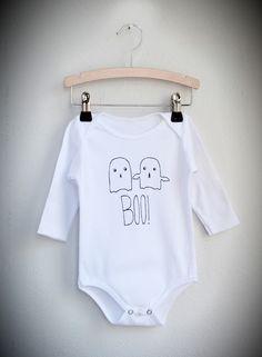 Baby Strampler Body Geister - weiß