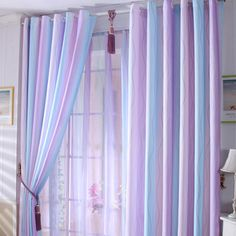 Discount Purple/Baby Blue Lines Cool Curtains