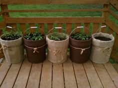 5 gallon bucket wrapped in burlap, manageable garden!
