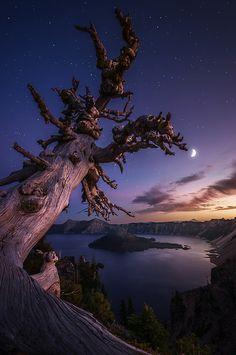 Twilight falls over Oregon's Crater Lake.