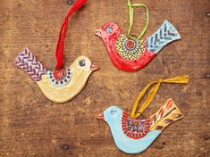 Ornaments Set of Three Birds READY TO SHIP -  Pottery Ornaments Gardener Gift - Christmas Tree Trimming Happy Home Decor Gift Package Tie On by romyandclare on Etsy https://www.etsy.com/listing/115065414/ornaments-set-of-three-birds-ready-to