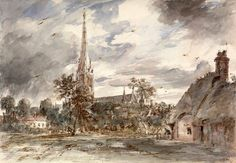 John Constable (1776 - 1837, UK) Salisbury Cathedral Seen from the NorthWest, with Cottages. 1829   ink and water-colour on paper.