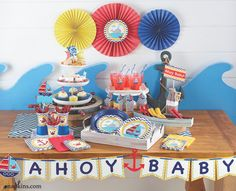 Set sail for an adorable natutical themed baby shower with our collection of Ahoy Matey baby shower supplies. Classic red and blue adorn this adorable baby shower theme, complete with sail boats, crabs and whales. Set the scene with Ahoy Matey baby shower decorations and tableware, to celebrate the mother-to-be and her bundle of joy.  #babyshower