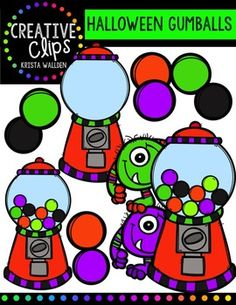 FFREE Halloween Gumball Machines {Creative Clips Digital Clipart}. Kristen will add another freebie if this gets about 10 more ratings/comments by midnight (Wednesday, August 12)!