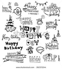 Illustration about Doodle Happy Birthday, illustrations. Happy Birthday Doodles, Happy Birthday Font, Happy Birthday Calligraphy, Happy Birthday Drawings, Birthday Cards, Bullet Journal Ideas Pages, Book Journal, Banner Doodle, Happy New Year Text