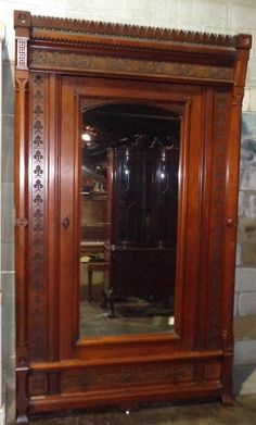 Victorian+Eastlake+Carved+Walnut+Antique+Armoire