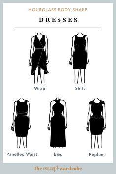 What's My Body Shape, Body Shape Guide, Dress For Body Shape, Dress Body Type, Hourglass Body Shape, Body Shapes, Hourglass Figure Outfits, Hourglass Dress, Hourglass Fashion
