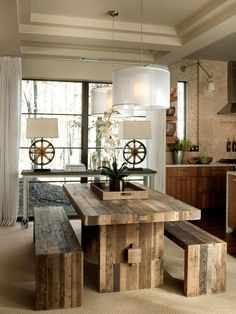 wood dining table + bench