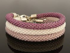 Beautiful Modern Stylish Bead Crochet Set of Bracelets Pink Pastel Colours