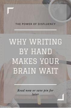 In writing by hand, we deliberately pause to make the brain wait. This forced interruption, called disinfluency, yields more thoughtful writing. Academic Writing, Fiction Writing, Writing A Book, Writing Tips, Writing Prompts, Writing Corner, Domain Name Ideas, Creative Writing Inspiration, Small Business Organization