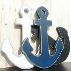 navy blue anchor wood nautical wall art