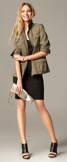 Black dress with Military jacket, python print clutch and perforated sandal | Banana Republic