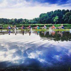 Awesome shot of the Dutch junior women's eight training on the Bosbaan thanks to coach @erikmus #rowing #rowingrelated #meisjesholland8