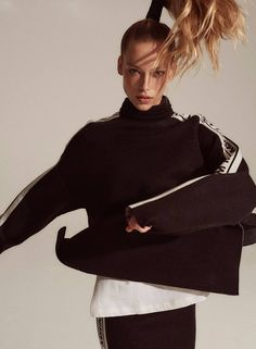 Hannah Ferguson shows off her sporty side in a spread for V Magazine #108. The Sports Illustrated: Swimsuit Issue model trades in bikinis for sweatshirts in the studio shots. Photographed by Robin Harper, Hannah poses in standout styles from brands like Louis Vuitton, MSGM and Dsquared2. Stylist Britt Berger chooses oversized silhouettes for the blonde...[Read More]
