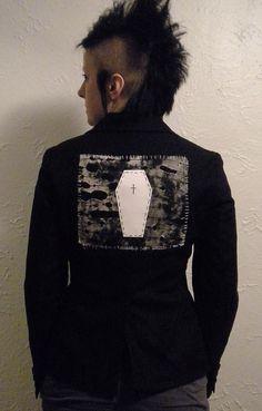DIY Deathrock Blazer Goth Jacket Coffin Back Patch Upcycled Punk Fashion via Etsy